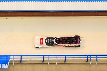 bobsleigh: CALGARY CANADA, DEC 21 2014 : FIBT Viessmann Bobsleigh and Skeleton World Cup in Calgary Olympic Park.
