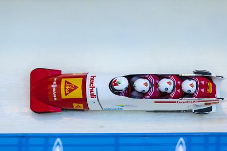 calgary: CALGARY CANADA, DEC 21 2014 : FIBT Viessmann Bobsleigh and Skeleton World Cup in Calgary Olympic Park.