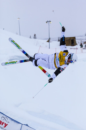 mogul: CALGARY CANADA JAN 2 2015. FIS Freestyle Ski World Cup, Winsport, Calgary Unidentified contender practicing on the slope at the Mogul Free Style World Cup on race day. Editorial