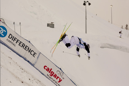 CALGARY CANADA JAN 2 2015. FIS Freestyle Ski World Cup, Winsport, Calgary Unidentified contender practicing on the slope at the Mogul Free Style World Cup on race day. Editorial