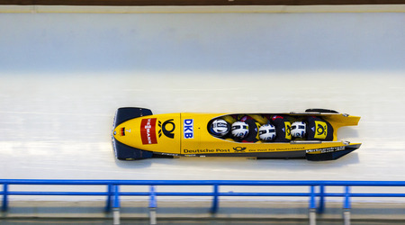 bobsled: CALGARY CANADA, DEC 21 2014 : FIBT Viessmann Bobsleigh and Skeleton World Cup in Calgary Olympic Park.