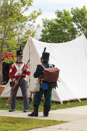 musket: CALGARY CANADA JUN 13 2015: The Military Museum organized Summer Skirmish event where an unidentified soldier is seen in a historical Reenactment Battle. Editorial
