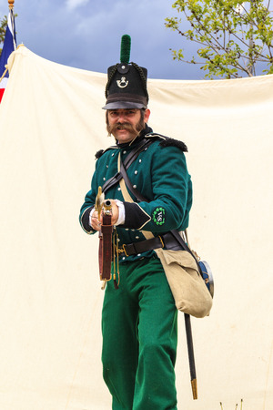 CALGARY CANADA JUN 13 2015: The Military Museum organized Summer Skirmish event where an unidentified soldier is seen in a historical Reenactment Battle. Editorial