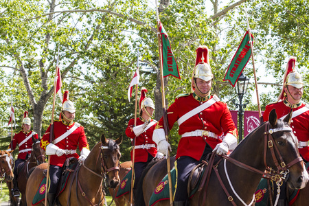 regiment: CALGARY CANADA - JUN 7 2015: The  Lord Strathconas Horse  Royal Canadians Mounted Regiment  parades on Spruce Meadows Show Jumping at the 40th anniversary.