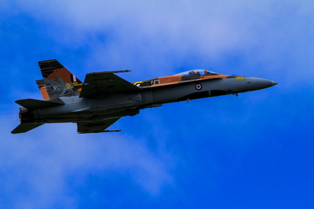 aeronautics: SPRINGBANK CANADA 20 JUL 2015:F-18 International Air Show and Open House for Canadian, USA and British current and historical military and civilian aircrafts. There were also numerous flights as well.