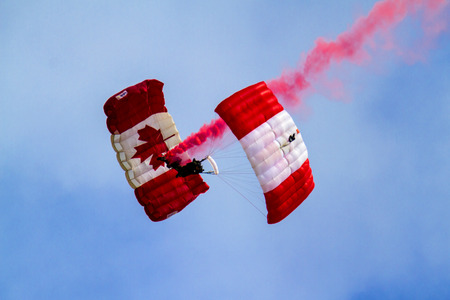 canadian military: SPRINGBANK CANADA-JUN 20 2015 :Canadian military culture festival, SkyHawks, the Canadian Forces Parachute Team  in Alberta, Canada. The Great Military Team from 1812-2015 exhibition