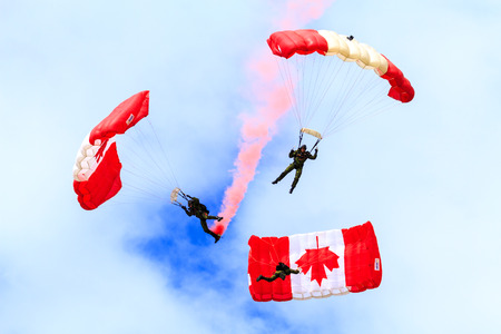 canadian military: SPRINGBANK CANADA-17 JUN 2015: Canadian military culture festival, Skyhawks, the Canadian Forces Parachute Team on show day. The Great Military spirit from 1812-2015 exhibition.