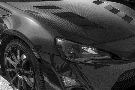 fibra de carbono: CALGARY CANADA AUG 9 2015: Hot Import Nights car show , the show is a regular event held each year in Calgary and Vancouver, where specialized imported vehicles on display by the owners. Editorial