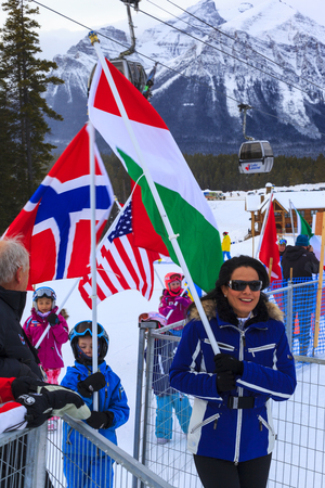 g p: LAKE LOUISE ALBERTA CANADA - DECEMBER 7. 2015: The R.C,M,P and representatives of competitors and organizers during the opening ceremony of the Alpine Ski Ladies Super G event.
