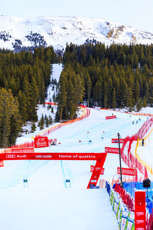 LAKE LOUISE, ALBERTA CANADA - DEC.7.2015. : The slope where 56 official entry will speeds down during the Audi FIS Alpine Ski World Cup Ladies Super G race. The average speed is 110 kmh .