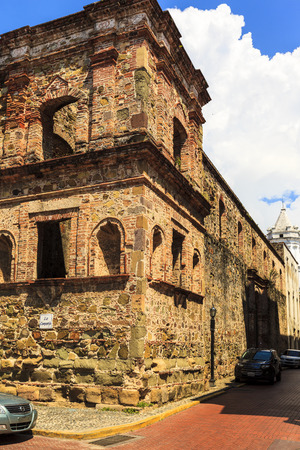 conquistador: PANAMA CITY, PANAMA, 21 10 2015. Old buildings in the old part of Panama City, The city of Panama was founded on August 15, 1519 by Spanish conquistador