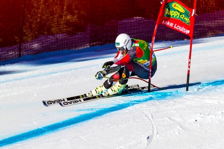 LAKE LOUISE, ALBERTA CANADA - OCT.29.2015. : 64 official entry speeds down the course during the Audi FIS Alpine Ski World Cup Men's race. The average speed is 132 kmh during the race.