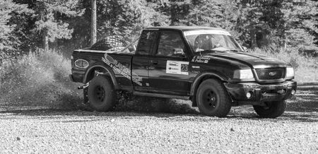ROCKY MOUNTAIN - CANADA. 23.08.2015:Test Day Some of the best drivers from Canada are competing in the Rocky Mountain. The test held in different province of Canada's best dirt roads for motor-sport. Редакционное