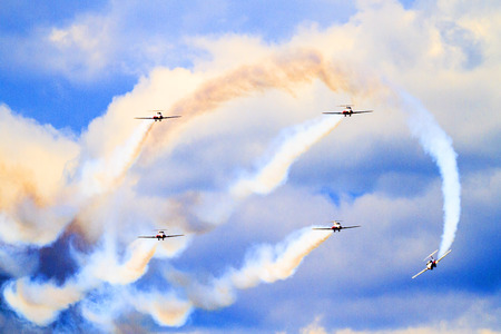 professionalism: LETHBRIDGE CANADA - JUN 25, 2015: The Snowbirds Demonstration Team demonstrate the skill, professionalism, and teamwork of Canadian Forces personnel during the Wings Over Lethbridge.