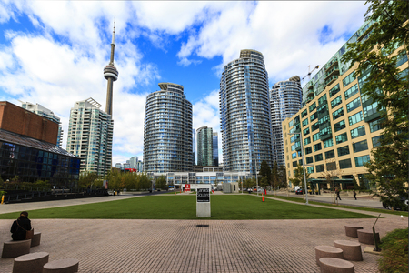 toronto: TORONTO, CANADA - 16-10-2015: A view of the elegant condominiums on the Lake Ontario in Toronto, Canada. Torontos population about 6 million, largest city of Canada.