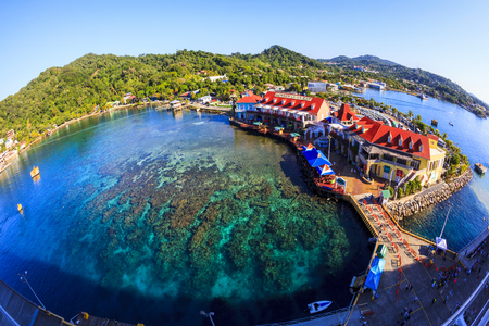 ROATAN ILAND HONDURAS JAN 28 2016: Coxen Hole, also called Roatan Town, is the largest city on the island of Roat�¡n, and the capital of the Bay Islands of Honduras, with a population of 5,070 Editoriali
