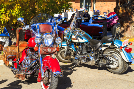 HIGH RIVER CANADA 9 27 2015 : Classic Bike Show River Classic where participants lined up and show their restoration masterpieces. One of the biggest show in Canada with many USA participants.