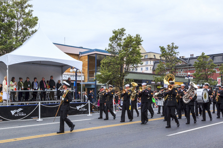 the emerald city: VICTORIA,BC,CANADA-MAY 23,2016: Marching Bands from Canada and USA in the Victoria Day parade along Douglas Street. This is Victorias largest parade, attracting well over 100,000 people..