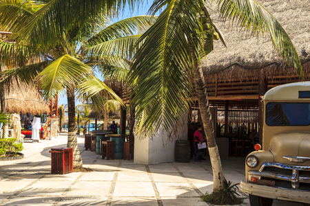 paradise place: COSTA MAYA - MEXICO JAN 30 2016:Costa Maya cruise ship terminal & resorts is a perfect place for all visitors -young and old - since many attractions awaiting on this tropical paradise. Editorial