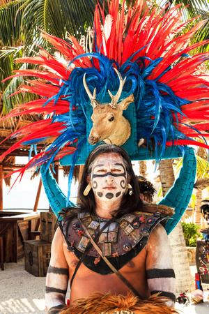 COSTA MAYA MEXICO JAN 30 2016:Pre-Hispanic Mayan performance called