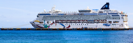 paradise place: COSTA MAYA MEXICO JAN 30 2016:Norwegian Down, docked in Costa Maya, Mexico. Costa Maya is a perfect place for visitor since many attractions awaiting on this perfect tropical paradise.