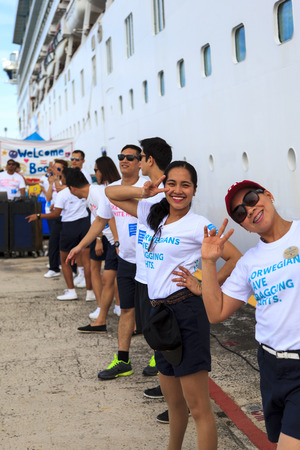 paradise place: COSTA MAYA MEXICO JAN 30 2016:Norwegian Down welcome team at your return. Costa Maya is a perfect place for visitor since many attractions awaiting. Its a perfect tropical paradise.