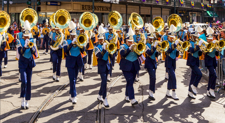 NEW ORLEANS USA FEB 1 2016: Mardi Gras parades through the streets of New Orleans. People celebrated crazily. Mardi Gras is the biggest celebration the city of New Orleans hosts every year.