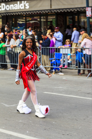parades: NEW ORLEANS USA FEB 1 2016: Mardi Gras parades through the streets of New Orleans. People celebrated crazily. Mardi Gras is the biggest celebration the city of New Orleans hosts every year.