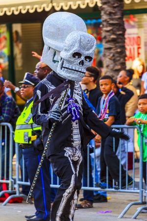 parades: NEW ORLEANS USA FEB 1 2016: Mardi Gras parades through the streets of New Orleans.People celebrated crazily. Mardi Gras is the biggest celebration the city of New Orleans hosts every year.