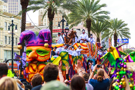 NEW ORLEANS USA FEB 1 2016: Mardi Gras parades through the streets of New Orleans.People celebrated crazily. Mardi Gras is the biggest celebration the city of New Orleans hosts every year. Editorial