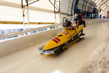 CALGARY KANADA - 21. Dezember 2014: Skeleton Weltcup auf