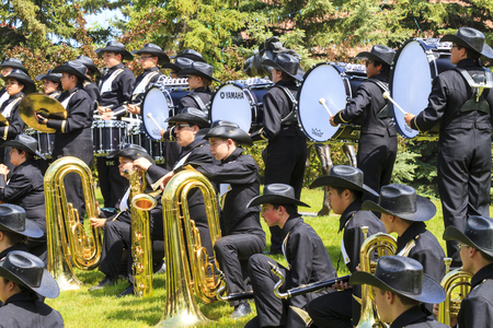 prestige: CALGARY CANADA - JUN 7 2015 The Calgary Stetson Show Bend   Entertainers  during the prestige s Spruce Meadows International hors jumping competition,  riders and visitors are comes all over the world to compete.