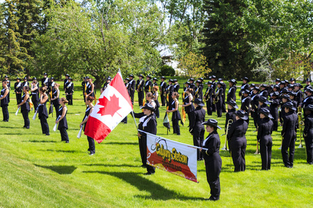 prestige: CALGARY CANADA - JUN 7 2015  The Calgary Round-Up Band  Entertainers  during the prestige s Spruce Meadows International hors jumping competition,  riders and visitors are comes all over the world to compete.
