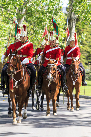CALGARY CANADA - JUNE 6, 2015: The Royal Canadian Mounted Police (RCMP) Musical Ride performs in Calgary in Horseman Guards Uniform.