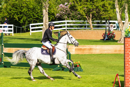 prestige: CALGARY CANADA - JUN 7 2015 :  Spruce Meadows International hors jumping competition, � Stock Photo #77782566 CALGARY CANADA - JUN 7 2015 Unidentified rider in action during the prestige s Spruce Meadows International hors jumping competition, ride Editorial