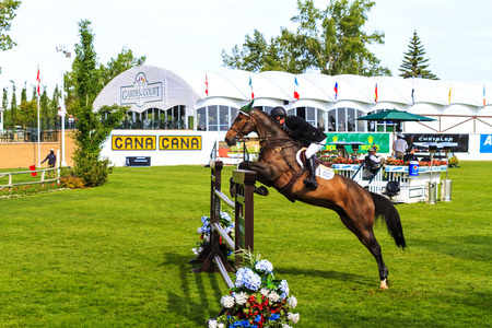 prestige: CALGARY CANADA - JUN 7 2015 :  Spruce Meadows International hors jumping competition, — Stock Photo #77782566 CALGARY CANADA - JUN 7 2015 Unidentified rider in action during the prestige s Spruce Meadows International hors jumping competition, riders co