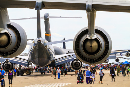 canadian military: LETHBRIDGE CANADA 25 JUN 2015: International Air Show and Open House for Canadian, USA and British current and historical military and civilian aircrafts. There were also numerous flights as well.