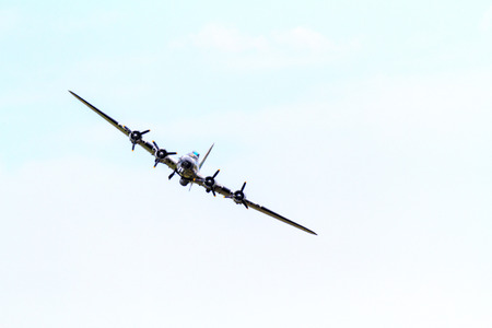 usaf: LETHBRIDGE CANADA - JUN 25, 2015: The B-17 Demonstration Team demonstrate the skill, professionalism, and teamwork of the USAF Forces personnel during Wings Over Lethbridge Air Show. Editorial
