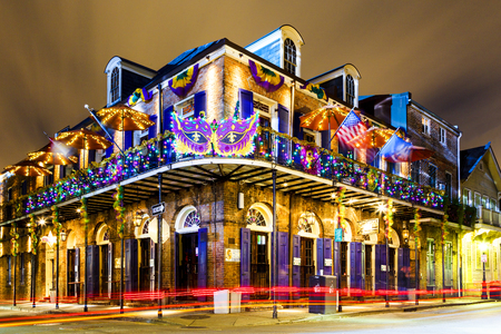 NEW ORLEANS, LOUISIANA USA- JAN 23 2016: Pubs and Bars having colorful lights and decorations in the French Quarter. Tourism provides a much needed financial source, also home for great musicians. 에디토리얼