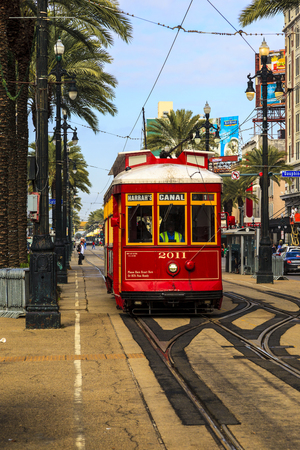 streetcar: NEW ORLEANS, USA - JAN 22 2016: New Orleans Streetcar Line, Newly revamped after Hurricane Katrina in 2005, the New Orleans Streetcar line began electric operation in 1893. Editorial