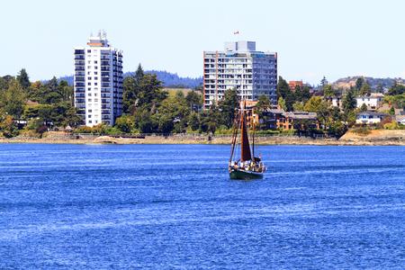 continente americano: Victoria, BC, Canad� - JUN 26 de 2016: Vista general del horizonte de la ciudad puerto interior del centro. Victoria es uno de los destinos tur�sticos de Canad� y de todo el continente americano del Norte.