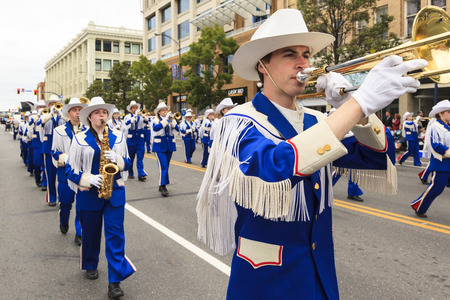 march band: VICTORIA,BC,CANADA-MAY 22,2016: Battle of Marching Bands from Canada and USA in the Victoria Day in front of Parliament House. This is Victorias largest parade, attracting well over 100,000 people.. Editorial