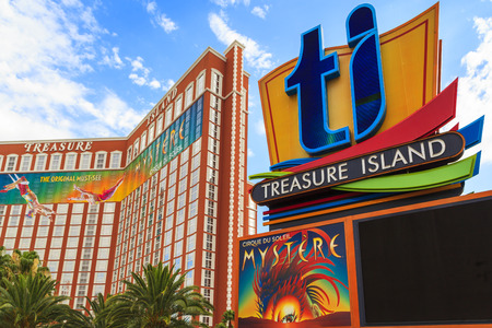 sins: LAS VEGAS, USA - JULY 7 2015: Treasure island hotel and casino in Las Vegas, Las Vegas is one of the top tourist destinations in the world. About 40 million people visiting the city each year.