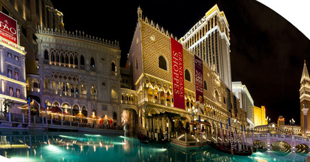 gondoliers: LAS VEGAS USA JULY 7 2015: The Venetian Resort Hotel & Casino The resort opened on May 3, 1999 with flutter of white doves, sounding trumpets, singing gondoliers and actress Sophia Loren.