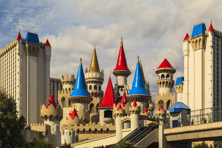 billion: LAS VEGAS - JUN 8 2015: The Excalibur hotel and Casino is shown in Las Vegas, Nevada. The Excalibur opened on June 19, 1990 reported strong net revenue gain of $2.23 billion in third quarter 2011