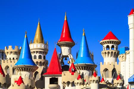 LAS VEGAS - JUN 8 2015: The Excalibur hotel and Casino is shown in Las Vegas, Nevada. The Excalibur opened on June 19, 1990 reported strong net revenue gain of $2.23 billion in third quarter 2011