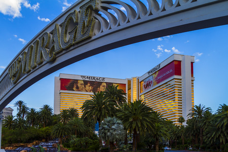 LAS VEGAS, NEVADA USA - MAY 29 2015: The Mirage hotel is a luxurious hotel  casino famous with its volcano street show. The Mirage has 3044 rooms the resort built by developer Steve Wynn