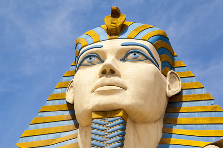 million: LAS VEGAS USA - JULY 5 2015: The Replica of Sphinx in front of Luxor Hotel in Las Vegas, Luxor is Egypt-themed casino resort on the Strip. About 40 million people visiting the city each year.