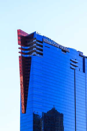 home comforts: LAS VEGAS - JUL 8, 2015: Hilton Grand Vacations Suites on the Strip Boulevard. This elegant resort combines the comforts of a luxurious home with ideal access to the citys signature attractions.