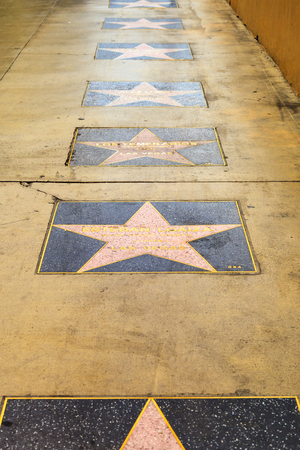 estrellas cinco puntas: LAS VEGAS, NEVADA USA - MAY 29 2015: Walk of Fame in Vegas on the strip There are many five-pointed stars which attract about 40 million visitors annually Editorial